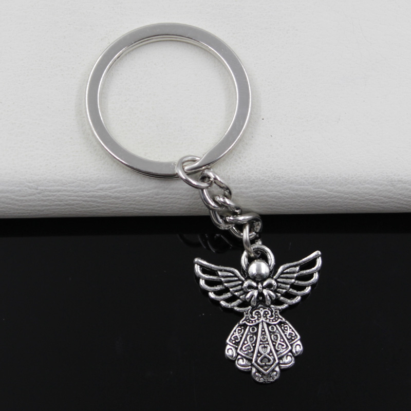 Fashion diameter 30mm Key Ring Metal Key Chain Keychain Jewelry Antique Silver Plated guardian angel 26*23mm Pendant