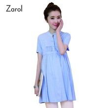Summer New Linen Cotton Maternity Tops Blouses Shirts for Pregnant Women Blue and Pink Pregnancy Top Blouse Shirt Ropa Premama(China (Mainland))