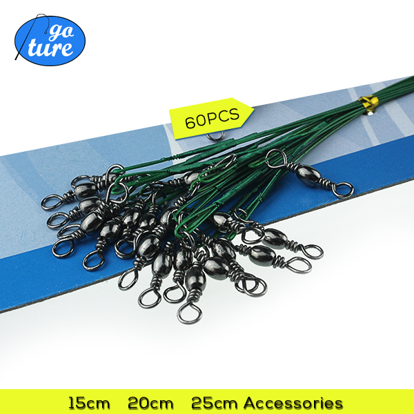 60PCS/lot Fishing Lure Trace Wire Leader Swivel Tackle Spinner Shark Spinning expert 15CM, 20CM, 25CM AAA(China (Mainland))