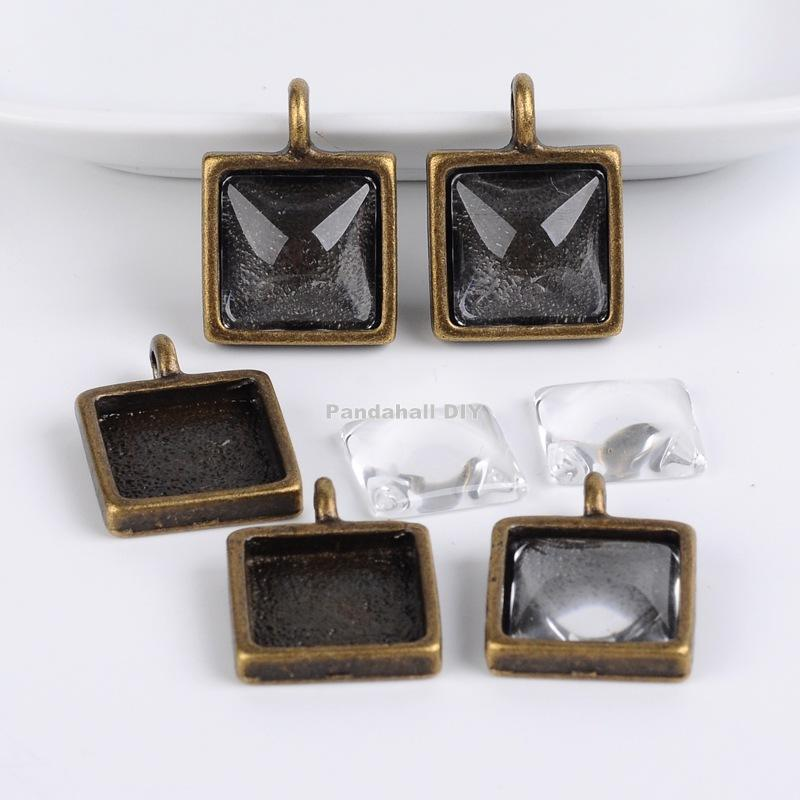 Tibetan Style Pendant Cabochon Bezel Settings and Clear Glass Cabochons, Square, Lead Free & Nickel Free, Antique Bronze, 25(China (Mainland))