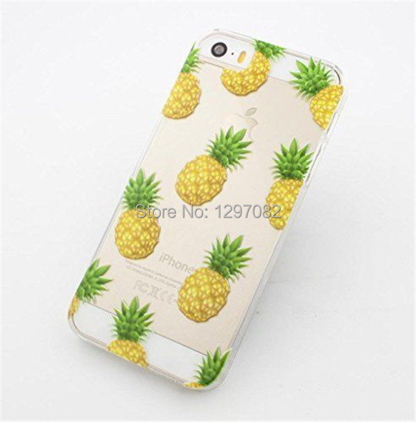 2015 new Novelty Pineapple Fruit Patterns Transparent Hard Phone Back Case Cover For Apple iPhone 5 5S 5C 6 6plus EC504/EC505(China (Mainland))