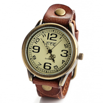 vintage style Men Sports quartz wristwatch high quality strap leather watches women casual dress watch orologio donna W1748
