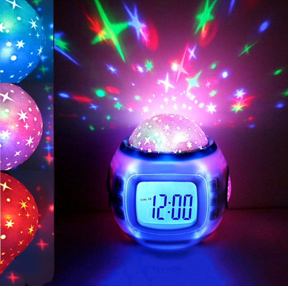 Children LED Night Light Music Starry Star Sky Led Projection Lazy Projector Alarm Clock Calendar Thermometer Best gift For Kids(China (Mainland))