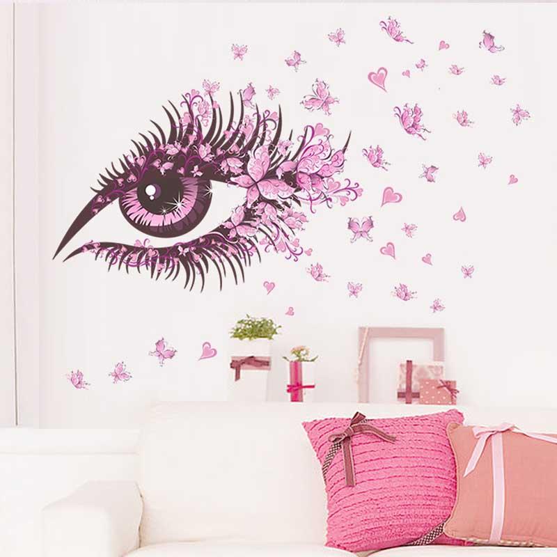 Sexy Eyes <font><b>Elegant</b></font> Flower Butterfly Wall Stickers DIY Girls Living Room TV/Sofa Background <font><b>Home</b></font> <font><b>Decor</b></font> Mural Decal