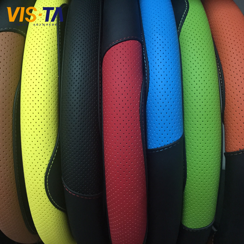 2016 New Vista Microfiber Steering Wheel Cover Wheel Texture Cover High Quality Fashion Leather Texture Car Auto Glove 8 Colors(China (Mainland))
