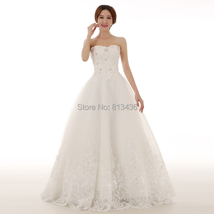 2015 Top Quality ! Sweetheart Appliques Beading A-Line White Lace Sweet princess Lace Up wedding Dresses Bridal Gowns .(China (Mainland))