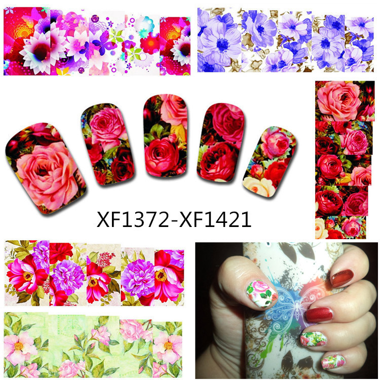 50Sheets Nail Art Flower Water Tranfer Sticker Nails Beauty Wraps Foil Polish Decals Temporary Tattoos Watermark XF1372-1421<br><br>Aliexpress