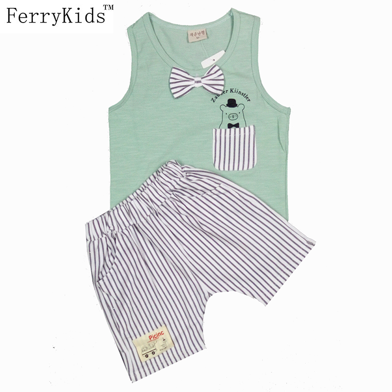 Summer Boys Clothing Sets Tank Top + Shorts Sleeveless Childrens Boy Clothes Set Toddler Clothing Suit Set Kids Clothes Vest(China (Mainland))