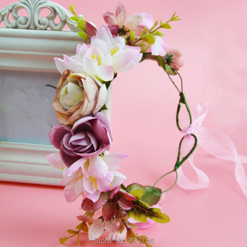 2016 Women Newest Wedding Headband Kids Party Floral garlands with Ribbon Adjustable girls flower crown Rose