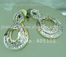 5X7MM OVAL Wholesale Jewelry solid 14CT white gold semi mount ring(China (Mainland))