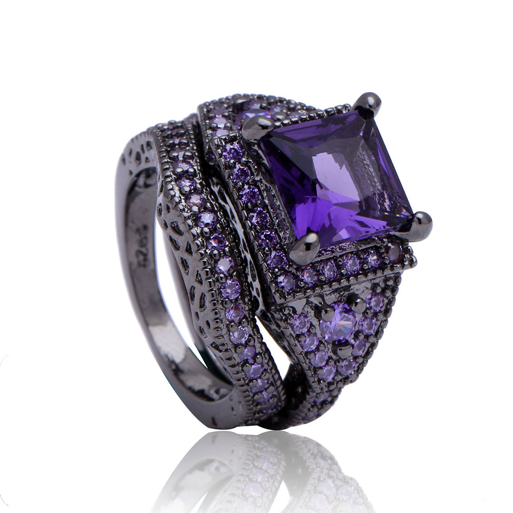 Vintage Jewelry 2016 Sapphire Women Ring amethyst Czech diamond Black Gold Pl
