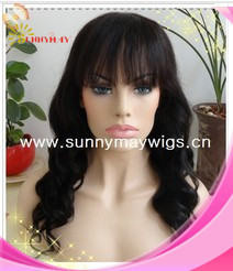 100% Indian human hair fashion wave #1b color sunnymay hair lace frontal wig with bang in stock(China (Mainland))