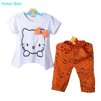 Humor Bear New Arrival Kids Clothing Set White Tshirt and Orange Printed Pants For Baby Girl Summer Clothing Set