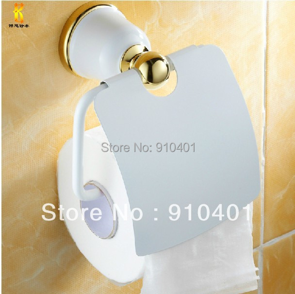 Hot Sale Wholesale And Retail Promotion White Painting Brass Wall Mounted Flower Toilet Paper Tissue Roll Holder W/Cover(China (Mainland))