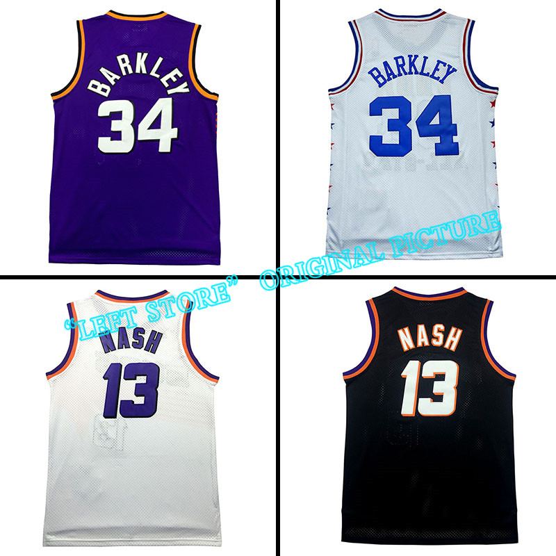 cheap Steve Nash jersey Charles Barkley Jersey throwback basketball jerseys High quality Embroidery Logos Free Shipping(China (Mainland))