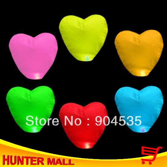 Free Shipping  35pcs/lot Mixed Colors  Sky lantern Heart Shape chinese paper Balloon Wholesale