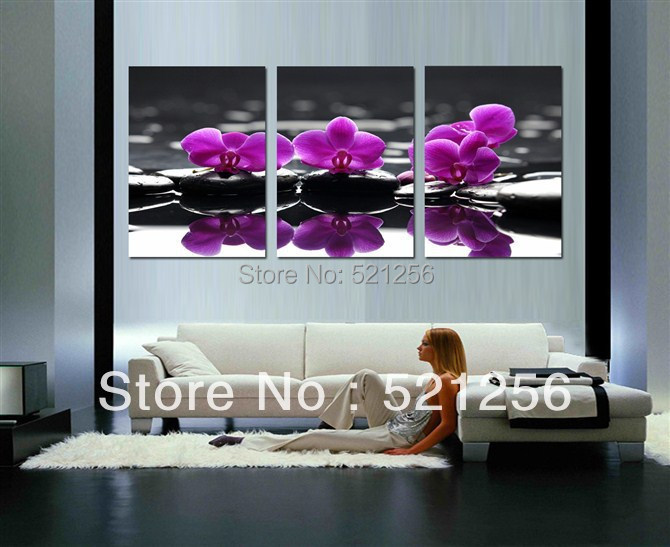 3 Piece Free Shipping Hot Sell Modern Wall Painting Purple Flowers Home Decorative Art Picture Paint on Canvas Prints BLAP125(China (Mainland))