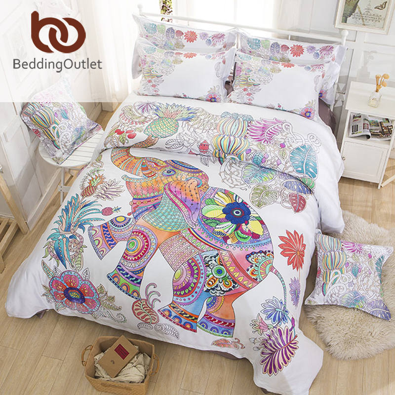 BeddingOutlet Bedding Colored Elephant Quilt Cover Reactive Printing Bed Linen Skin Friendly Cotton Queen King Sheet(China (Mainland))