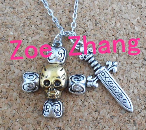 Freeshipping NEW SNOW WHITE ONCE UPON A TIME Captain hook Swords skeleton cross necklace UFJ01(China (Mainland))