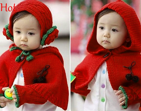 Baby Girls 3PC Set Weave Knitting Hat Cap Cape Coat Scarf Red Baby Kids Clothes Crochet Patterns 2016 New Arrival Korean Style(China (Mainland))