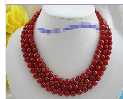 stunning 3rows 8mm round red agate beads necklace 9K g387 Lovely Women's Wedding Jewelry Pretty!(China (Mainland))