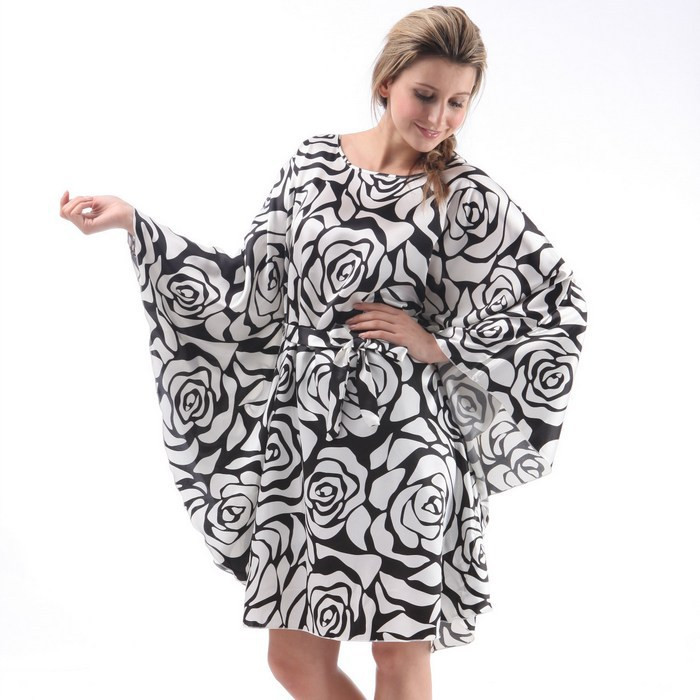2015 Extra Large Butterfly Sleeves Women Satin Nightgowns,Fashion Silk Sleepshirts,Black White Rose Pattern Polyester Sleepwear(China (Mainland))