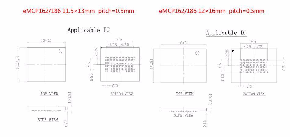 eMMC socket test flash chip eMMC153 socket eMMC169 BGA169
