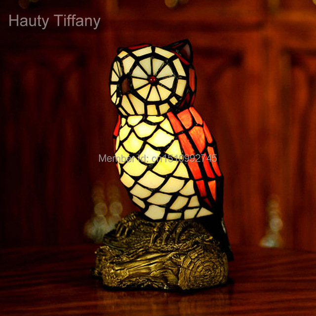antique tiffany glass lamp owl table lamp night light. Black Bedroom Furniture Sets. Home Design Ideas