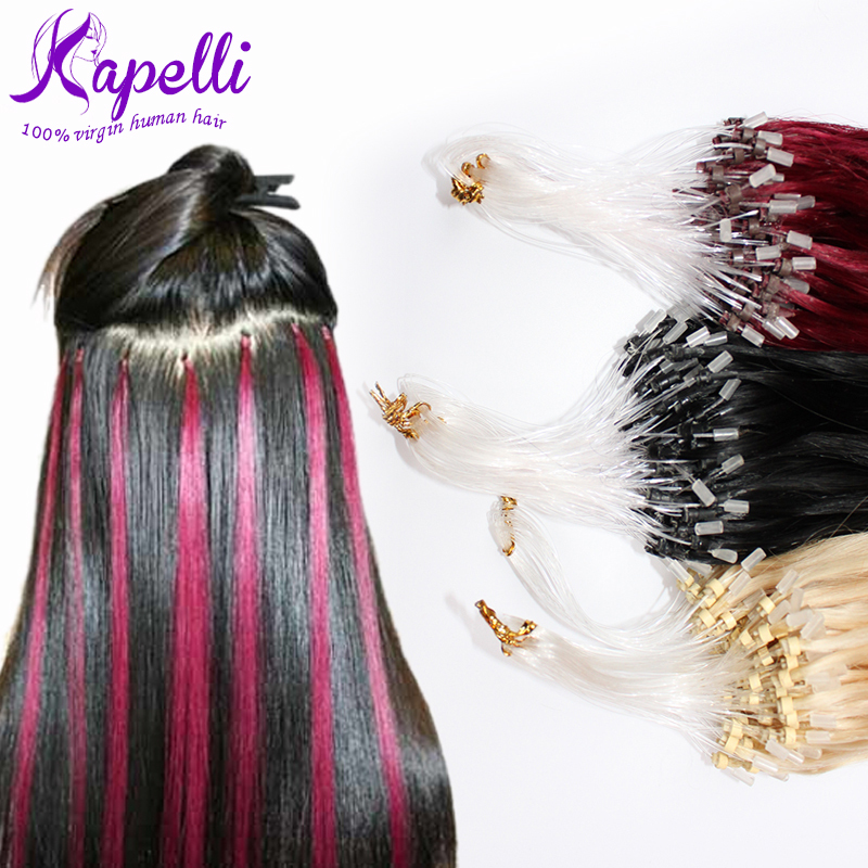 7A 16 18 20 22 24 26 inch Micro Loop Ring hair Extensions Freeshipping Pro-bonded Micro-loop Tip Brazilian Virgin Human Hair Hot(China (Mainland))