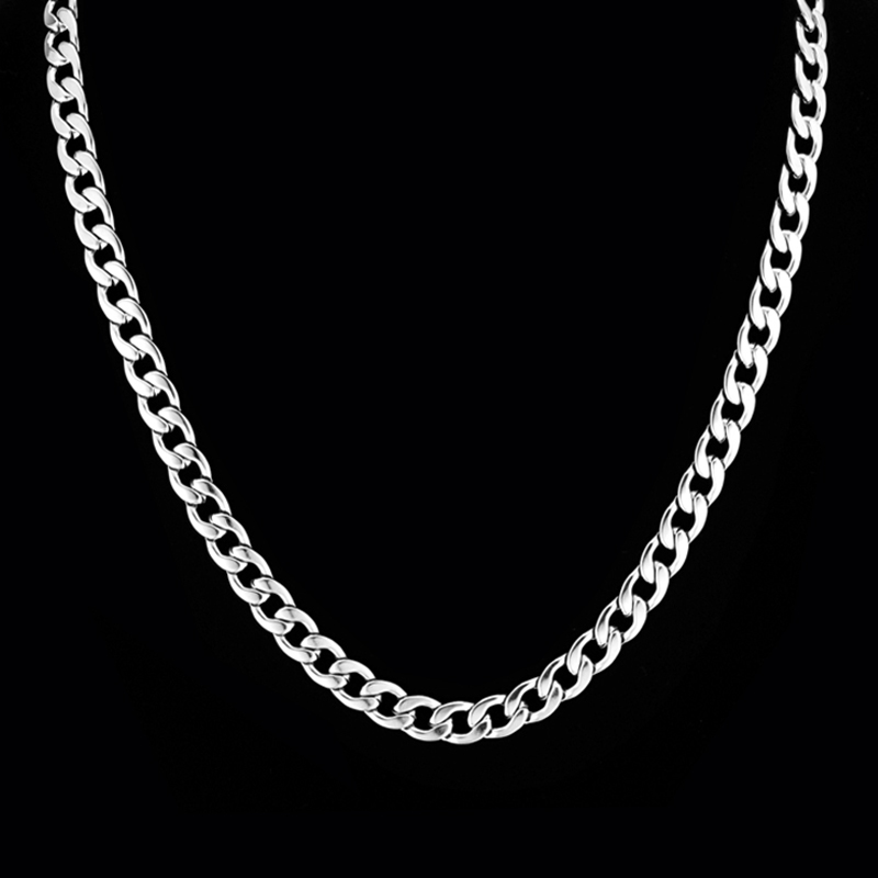 Wholesale Candy Male Long Silver Necklace Collier Gift, 4 Size New Cool Silver Plated Chain Necklace Men Jewelry(China (Mainland))