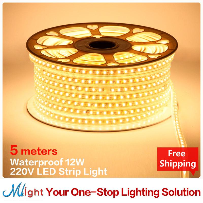 5 Meters 220v 5050 360pcs Lot Flexible Led Strip Light Ribbon Waterproof 12w Tape Light