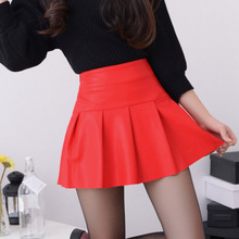 New 2016 Korean Fashion Black Red High quality PU Leather Skirt Women Vintage High Waist Pleated Skirt Female Mini Skirts