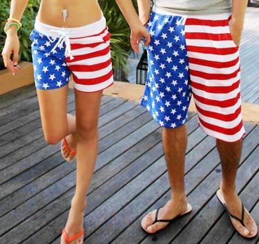 Бесплатная Доставка 2015 Американский Флаг Пляж Шорты Мужчины Купальники Женщины ...