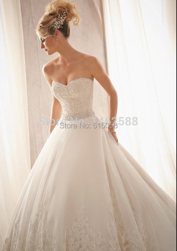 ivory lace appliques rhinestone belt gown wedding