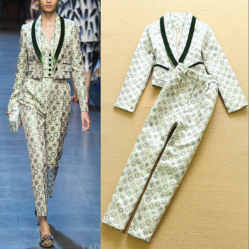 2016 spring and summer fashion exquisite jacquard short suit jacket trousers setОдежда и ак�е��уары<br><br><br>Aliexpress