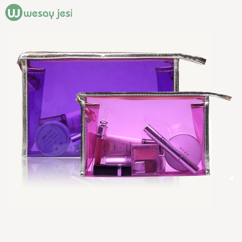 Transparent cosmetic bag Multi-colors Fashion Women Handbag organizer Travel Cosmetic Pouch pvc bag toiletry Casual makeup bag(China (Mainland))