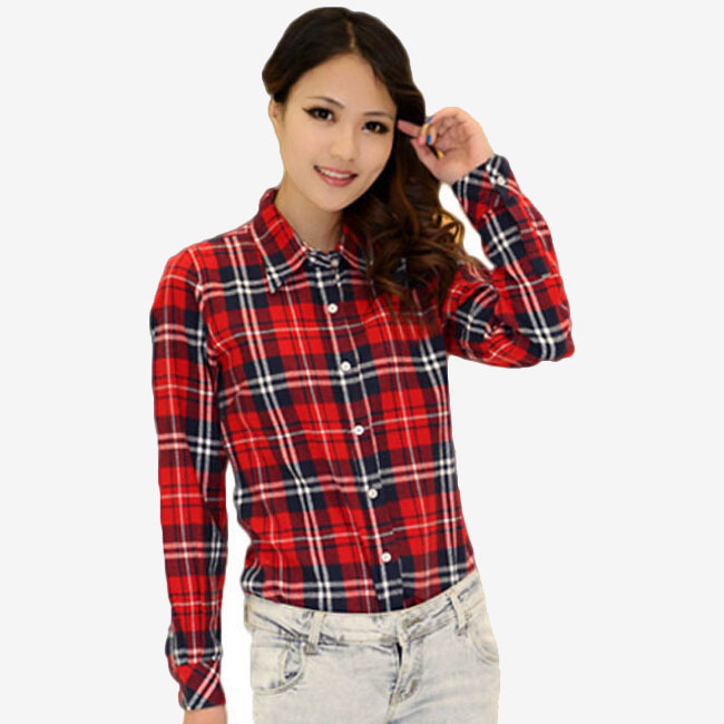 2015 New Fashion Womens Tops Casual Blouse Turndown Collar Long Sleeve Plaids Shirt M-XXL CS-1001(China (Mainland))