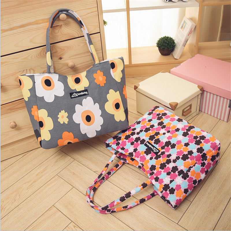 Waterproof Canvas Casual Zipper Shopping Bag Large Tote Women Handbags Foldable Floral Printed Ladies Single Shoulder