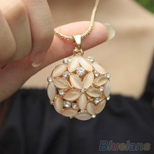 Woman Lady 3D Opal Crystal Flower Shape  Chain Sweet Pendant Long  Necklace 1QBB(China (Mainland))