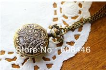 Steampunk Elegant Women gift Quartz Pocket Watch Small code birdcage bronze color Nostalgic FREE SHIPPING Necklace