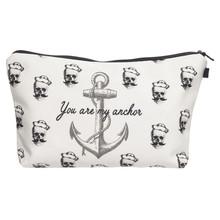 Pirates anchor 3D Printing women makeup bag neceser bolsos mujer de marca famosa 2016 Zohra Fashion bolsa neceser maquillaje