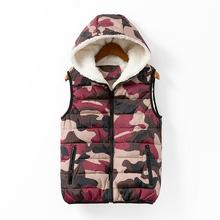 European and American 2014 Autumn Winters Fashion and Velvet Multicolor Hooded Zipper Camouflage Vest Leisure Female