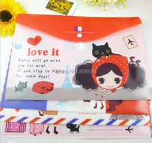 New lovely girl A4 documents file bag / cartoon File folder / stationery Filing Production/Wholesale(China (Mainland))