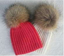 100% Real Raccoon Fur Hats Knitted Wool With Gunuine Fur Pompom kids Beanies Hat winter Cap For Children(China (Mainland))