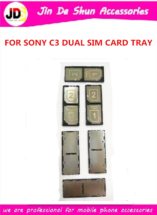 10pcs/lot New Sim Card Holder Tray For Sony Xperia C3 S55T S55U D2503 Dual Sim Card Tray Black Color Free Shipping