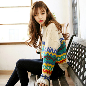 Harajuku vintage loose o-neck pullover sweater female geometric patterns knitted graphic - clothes word store