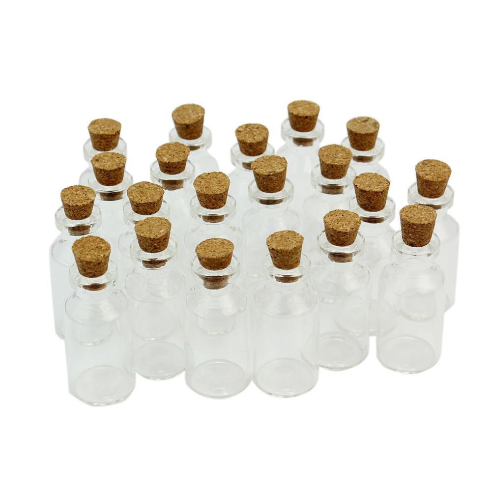 20pcs Mini Clear Transparent Empty Glass Bottles 5ml Vials Jars with Cork Small Tiny Corked Messages Wishing Bottle Container(China (Mainland))