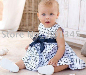 Free shipping,5pcs/lot,wholesale Baby plaid bow design Hot sell gir's dress baby jumpers toddlers dress,size 80,90,100,white