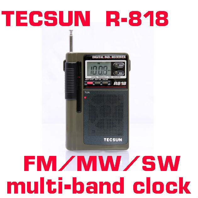 TECSUN R-818 FM/MW/SW Dual Conversion World Band Radio Receiver With Built-In Speaker Free Shipping(China (Mainland))