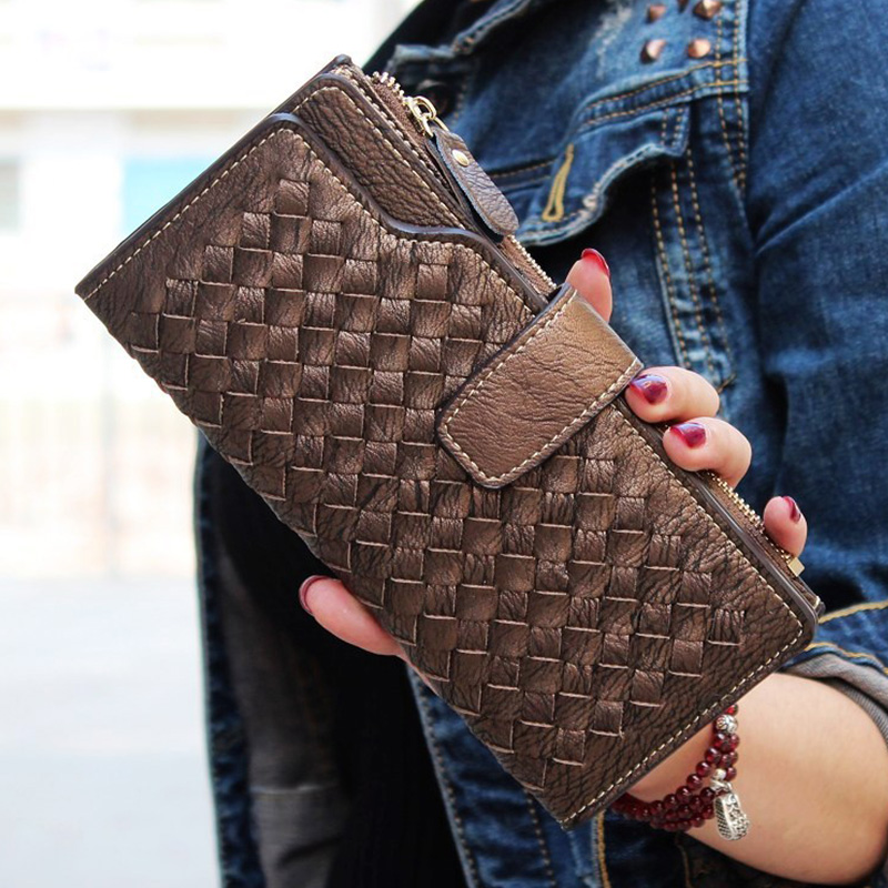 New Fashion Women PU Leather Wallets European Style Hand Wowen Wallet Long Lady Money Bag Card Purse Coin Packet ID Holder<br><br>Aliexpress